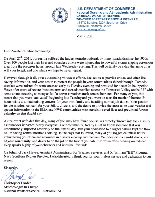 NWS letter of appreciation dated May 9, 2011, click to enlarge
